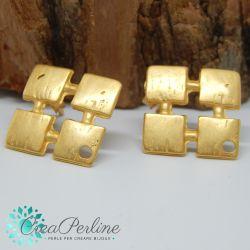 1 Paio Perno in Zama per orecchini Oro Satin Rombo effetto  pietra