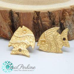 1 Paio Perno in Zama per orecchini Oro Satin Pesce Etrusco