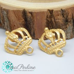 1 Paio Perno in Zama per orecchini Oro Satin Corona