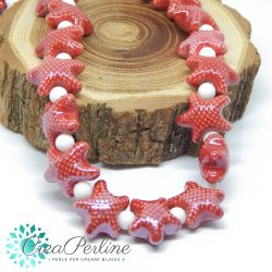 2 Pz perla stella marina in Ceramica Glaze Rosso 20x17mm