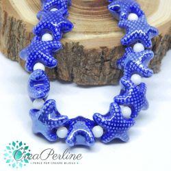 2 Pz perla stella marina in Ceramica Glaze Blu 20x17mm