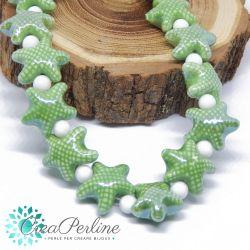 2 Pz perla stella marina in Ceramica Glaze  Verde 20x17mm