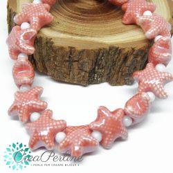 2 Pz perla stella marina in Ceramica Glaze Rosa antico 20x17mm
