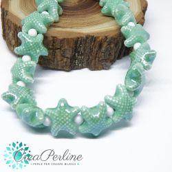 2 Pz perla stella marina in Ceramica Glaze Verde Tiffany20x17mm