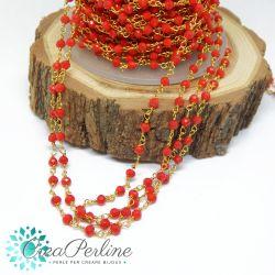 Catena Stile Rosario in ottone dorato cristalli rosso corallo  -50 cm