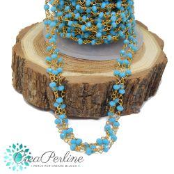 Catena Stile Rosario in ottone dorato cristalli Turchese -50 cm