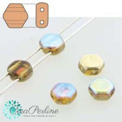 Perline HoneyComb Topaz Gold Rainbow - 10 pz