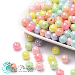 Perle in acrilico colore pastello lucido luster 8 mm - 45 pz