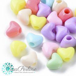 Perle in acrilico Cuore colore pastello 8,5x11mm - 30 pz