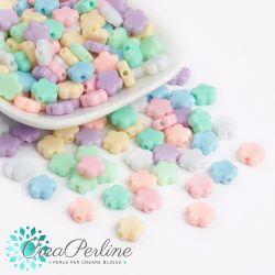 Perle in acrilico Fiore Liscio colore pastello 9x9,5mm- 55 pz