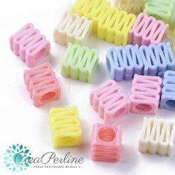 Perle in acrilico Nastro Liquirizia colore pastello 12,5x14mm- 10 pz
