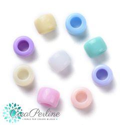 Perle in acrilico colore arcobaleno misto cilindro 8x6mm - 100 pz