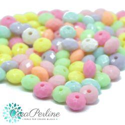 Perle in acrilico colore multicolor pastello Rondella rigata melon  8,5x4,5mm - 50 pz