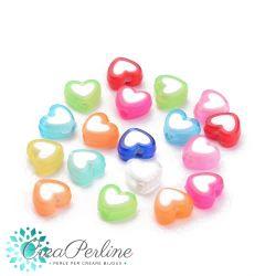 Perle in acrilico colore multicolor Cuore interno bianco 8x7mm   - 25 pz