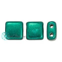 25 Pz Perle in vetro di boemia Tile  Saturated Metallic Forest Biome  6 mm