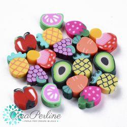 Perle in Pasta polimerica Frutta mix soggetti -10 pz
