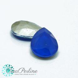 2 Pz Cabochon Gocce in cristallo Mocha Capri Blu 18x13