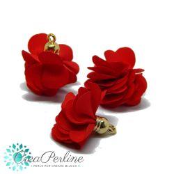 Nappina Fiore in  Tessuto tono Rosso base dorata