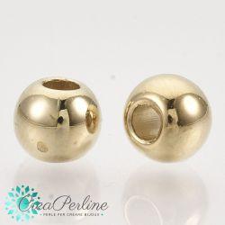100 Pz Perla Sfera in resina galvanizzata oro 6 mm