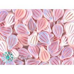 Preciosa Engraved Pip 9 x 14 mm Alabaster Full Ab Pink Painted 10 unità