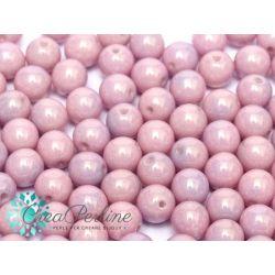 50 Pz Perle in vetro di boemia tonde  CHALK WHITE LILA LUSTER  4 mm