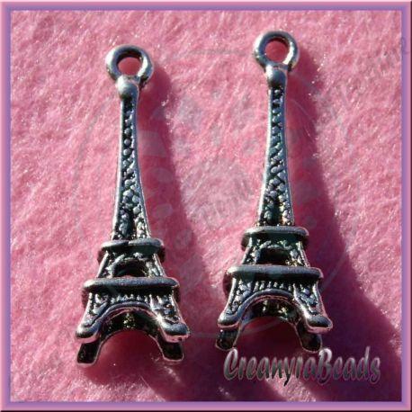 5 Pz Charms Ciondolo Torre Eiffel in argento tibetano 24 mm
