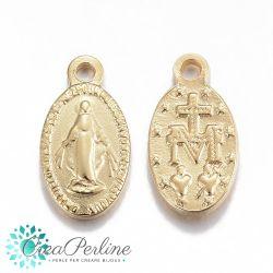 Ciondolo in Acciaio tono oro in rilievo Madonna Miracolosa 15x8mm