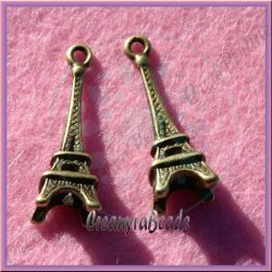 5 Pz Charms Ciondolo Torre Eiffel in argento tibetano bronzo  24 mm