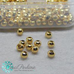 20 pz Pallina in Acciaio tono oro  Ø 4x3mm