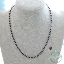 Catenina Pronta rosario in acciaio e perline Nero