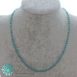 Catenina Pronta rosario in acciaio e perline colore Tiffany