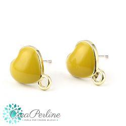 1 Paio Basi per orecchini perno Cuore Giallo Pastello in lega di zinco oro + retro