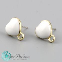 1 Paio Basi per orecchini perno Cuore Bianco in lega di zinco oro + retro