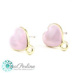 1 Paio Basi per orecchini perno Cuore Rosa Pastello in lega di zinco oro + retro