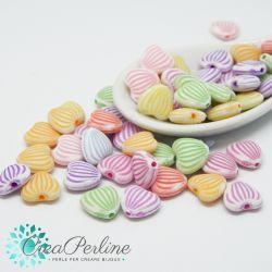 50 pz Perle in acrilico cuori effetto gesso mix color 10x11mm
