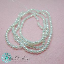 1 Filo perle in vetro cerato Bianco neve 4 mm (circa 210 perle)