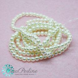 1 Filo perle in vetro cerato Panna perlato 4 mm (circa 210 perle)