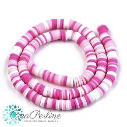 1 filo  Perle Rondelle in Fimo Heishi Sfumato bianco rosa fuchsia 6mm