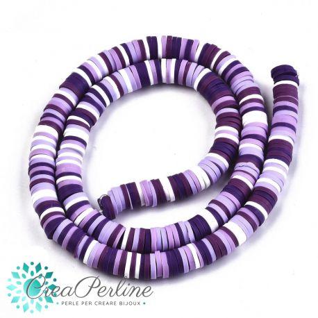 1 filo  Perle Rondelle in Fimo Heishi Sfumato bianco Viola 6mm