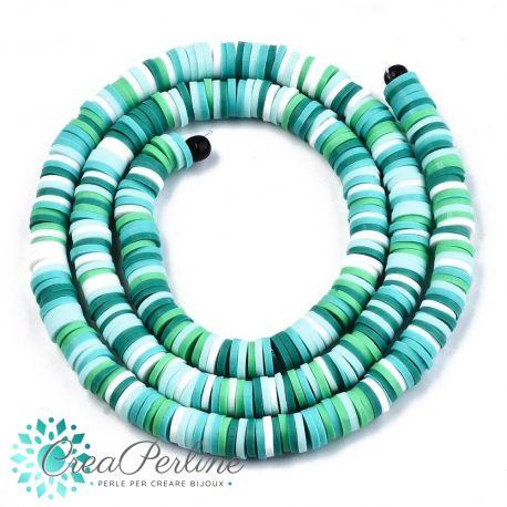 1 filo  Perle Rondelle in Fimo Heishi Sfumato bianco Verde 6mm