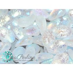 20 pz Tulip Petals 6x8mm in vetro di boemia Crystal Etched AB Full