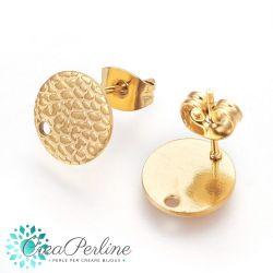 Perno per orecchini tondo Stile Croc 10 mm in acciaio tono oro  + retro