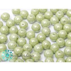30 Pz Perle in vetro di boemia tonde  CHALK WHITE CREAM LUSTER  6 mm