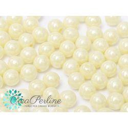 20 Pz Perle in vetro di boemia tonde  CHALK WHITE CREAM LUSTER  8 mm