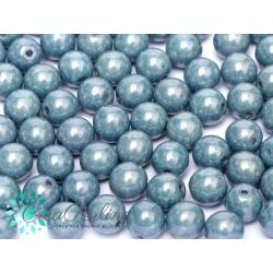 50 Pz Perle in vetro di boemia tonde  CHALK WHITE BABY BLUE LUSTER  4 mm