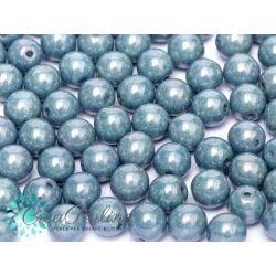 30 Pz Perle in vetro di boemia tonde  CHALK WHITE BABY BLUE LUSTER  6 mm