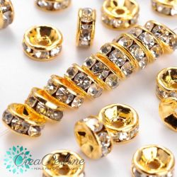20 Pz Mini rondella strass in ottone oro 6x3 mm crystal