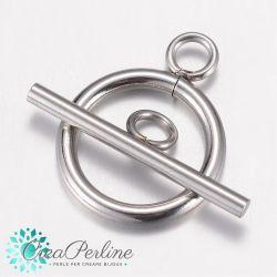 1 Set Chiusura a T in acciaio inossidabile cerchio liscio 20 mm