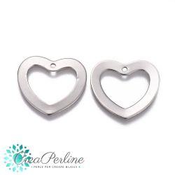 10 pz Pendenti a cuore forato in acciaio inossidabile 18x20 mm