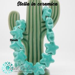 4 Pezzi Perla Stella Verde tiffany in ceramica fatta a mano 16X16mm